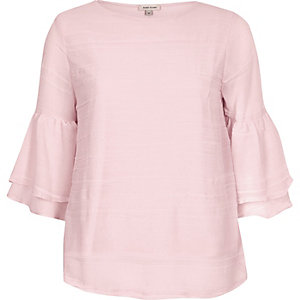 Pink layered frill sleeve top