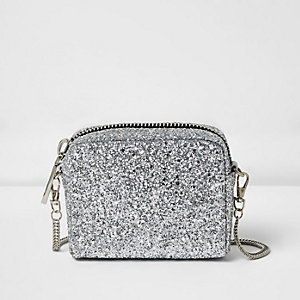 Silver glitter mini crossbody bag