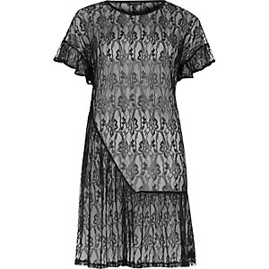 Black lace frill smock dress