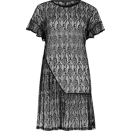 Black lace frill smock dress