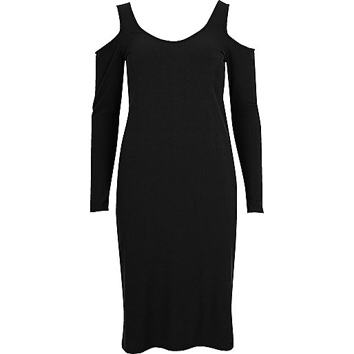 Black cold shoulder scoop neck dress