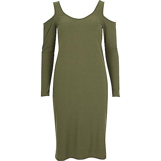 Khaki green cold shoulder scoop neck dress