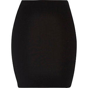 Black jersey mini skirt