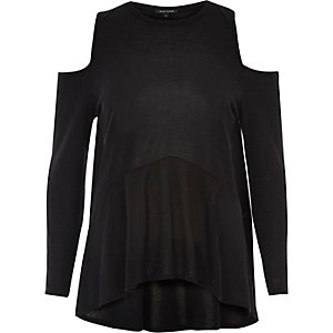 Black cold shoulder soft peplum top