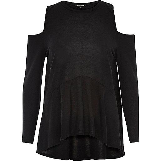 Black cold shoulder soft peplum top