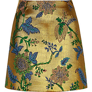 Gold floral embroidered mini skirt