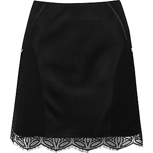 Black lace hem panel mini skirt