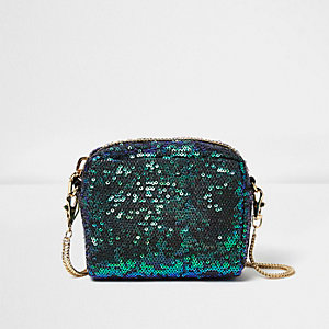 Green sequin mini cross body bag