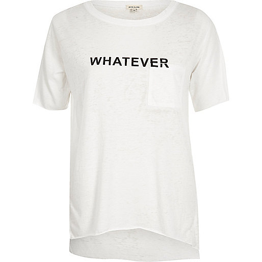 White word print T-shirt