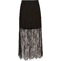 Black layered lace maxi skirt