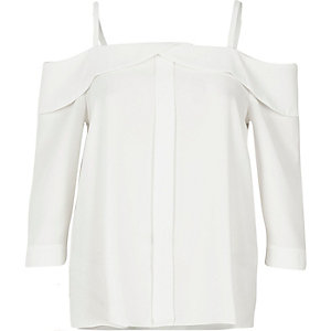 White placket bardot top