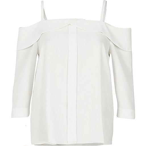 White placket cold shoulder top