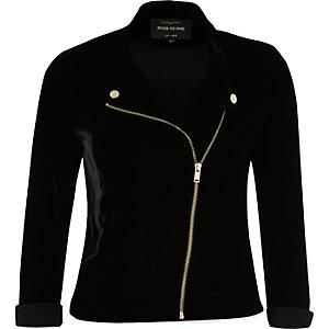 Black zip front velvet biker jacket