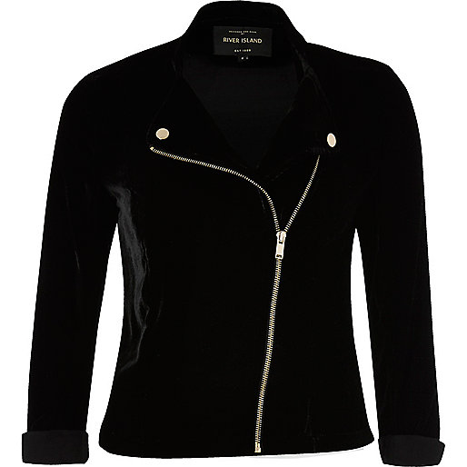 Black zip front velvet biker jacket