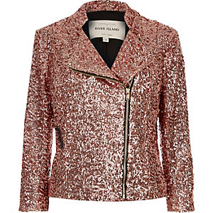 Pink sequin biker jacket