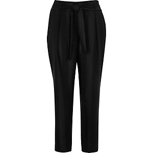 Black stripe soft tie tapered pants
