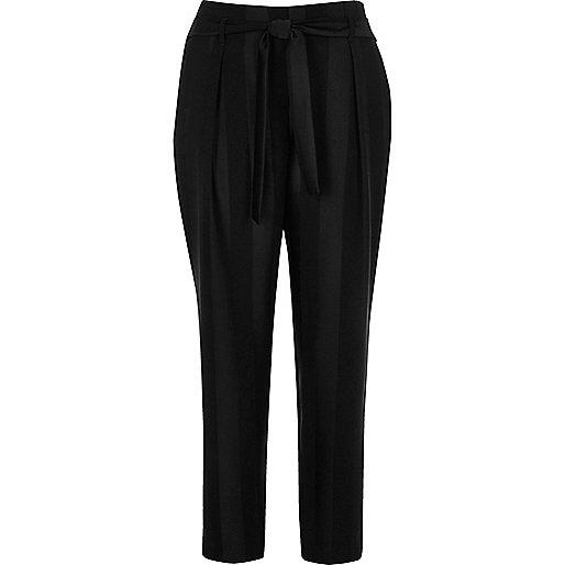 Black stripe soft tie tapered pants