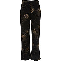 Pantalon large à imprimé fleuri noir