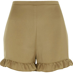 Khaki green soft frill hem shorts