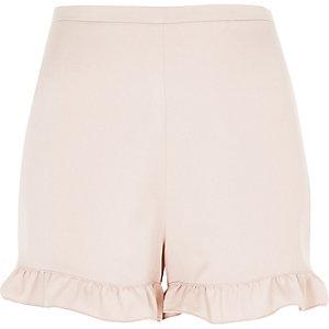 Pink frill hem shorts