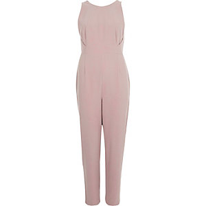 Blush pink plunge back jumpsuit