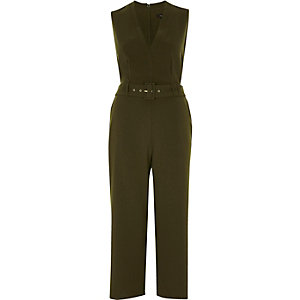Khaki green belted culotte jumpsuit