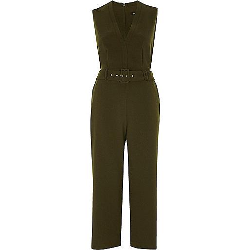 Khaki green belted culotte jumpsuit