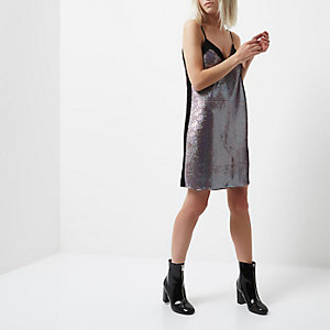 Petite pink sequin panel slip dress