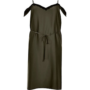 RI Plus khaki cold shoulder cami slip dress
