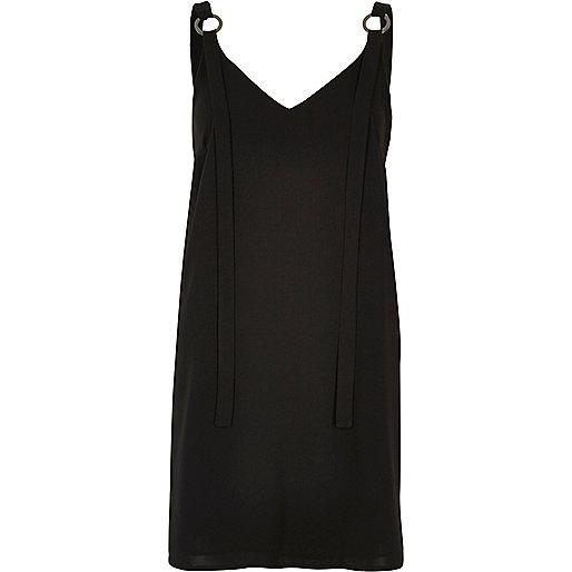 Black ring strap slip dress