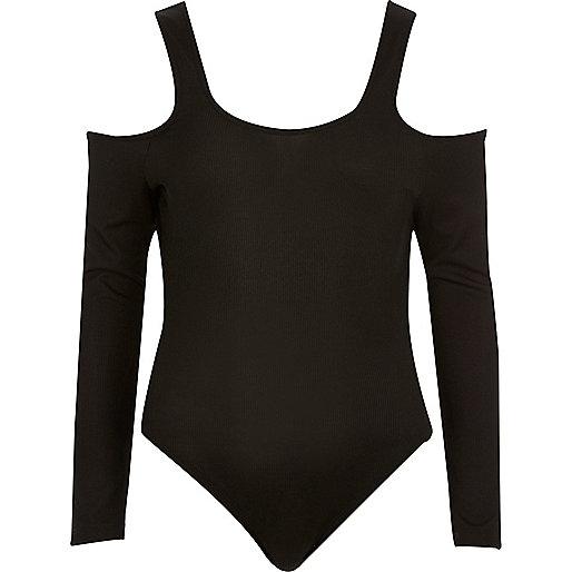Black cold shoulder scoop neck bodysuit