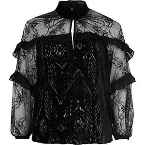 Black velvet frill blouse