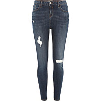 Amelie – Skinny Jeans in dunkler Waschung im Used-Look