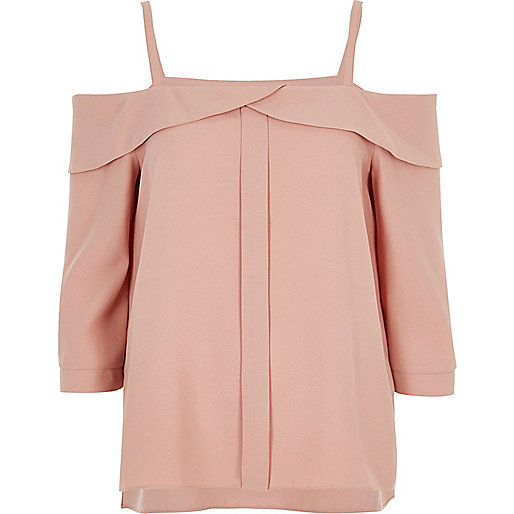 Blush pink foldover cold shoulder top