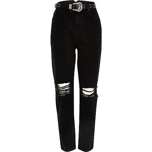 Black ripped western belt Mom jeans