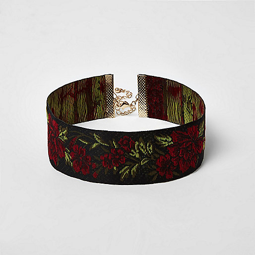 Red embroidered rose choker