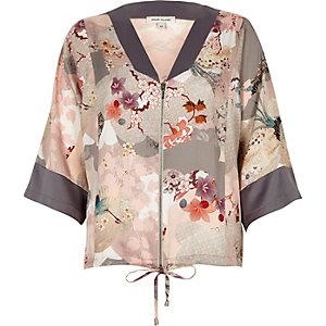 Floral print zip kimono shirt