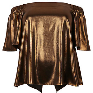 Plus – Bardot-Oberteil in Bronze-Metallic