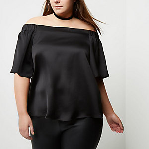 Plus black bardot top