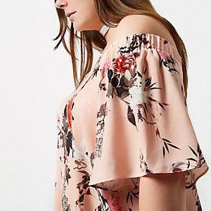 Top bardot RI Plus rose à imprimé floral