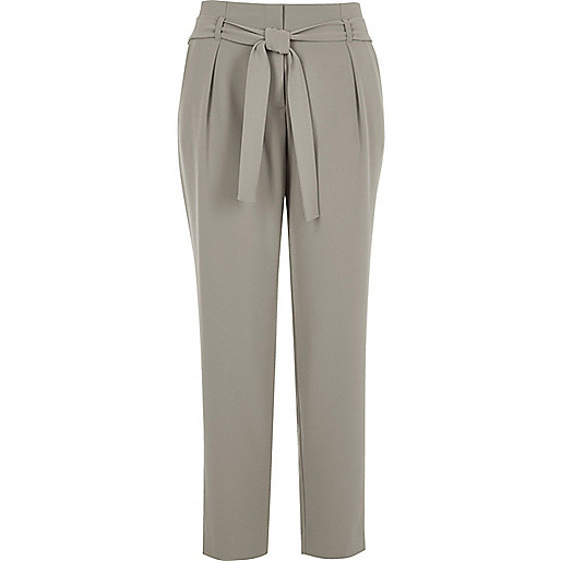 Light grey soft tie tapered pants