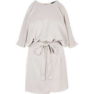 Silver satin cold shoulder playsuit