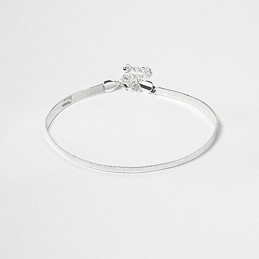Silver tone snake chain choker