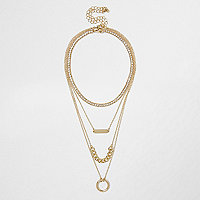 Gold tone layered chain choker necklace