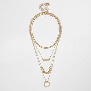 Gold tone layered chain choker necklace