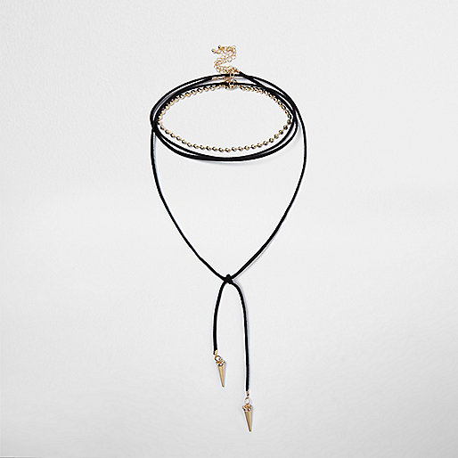Black tied spike layered choker necklace