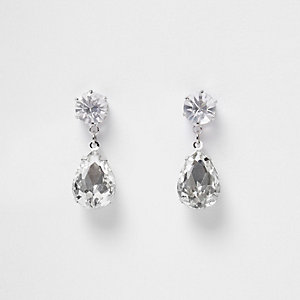 Silver tone crystal dangly earings