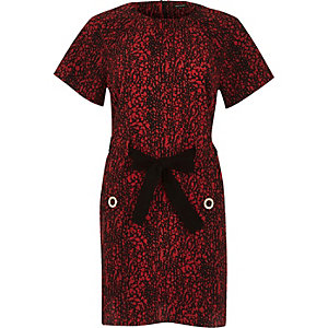 Red print bow tied T-shirt dress