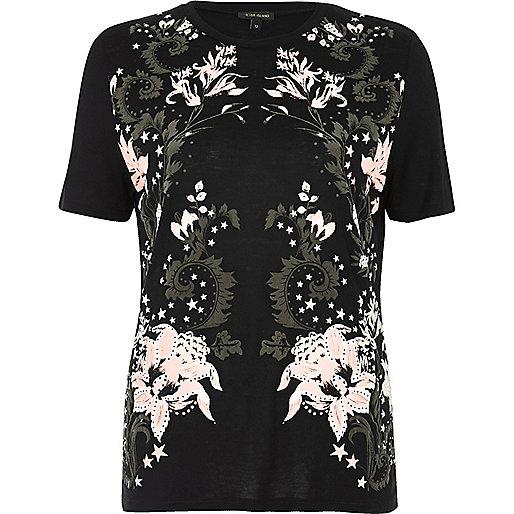 Black floral puff print T-shirt