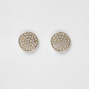Gold tone medium gem pave stud earrings